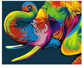 Paint by Numbers Psychedelic elephant 40 x 50cm