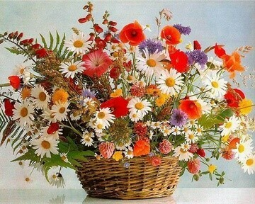 Paint by Numbers Kit Flower basket 40 x 50cm