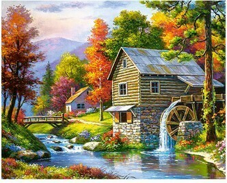 Paint By Number Kit Watermill 40 x 50cm