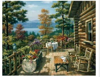 Paint by Numbers Kit Cabin relaxation 40 x 50cm