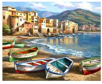 Paint By Numbers Kit Boats on the beach 60 x 75cm