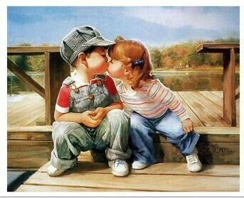 Paint by Number Kit Girl kisses boy 40 x 50cm