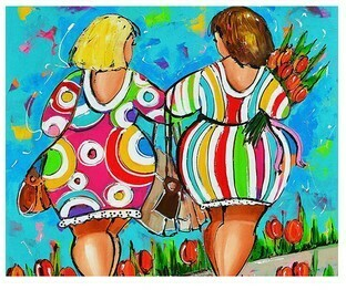 Paint by Numbers Two ladies out for a walk 40 x 50cm