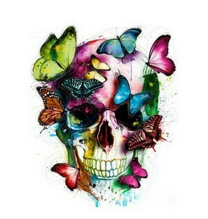 Paint by Numbers Skull with butterflies 40 x 50cm