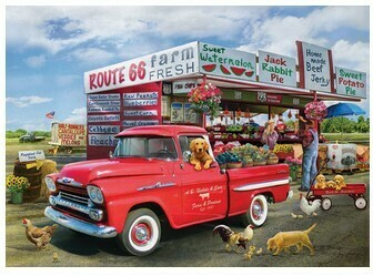 Paint by Numbers Red pickup on Route 66 40 x 50cm