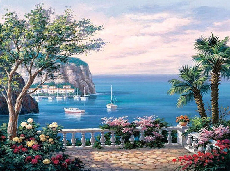 Paint by Number Kit Aegean Seaview 40 x 50cm
