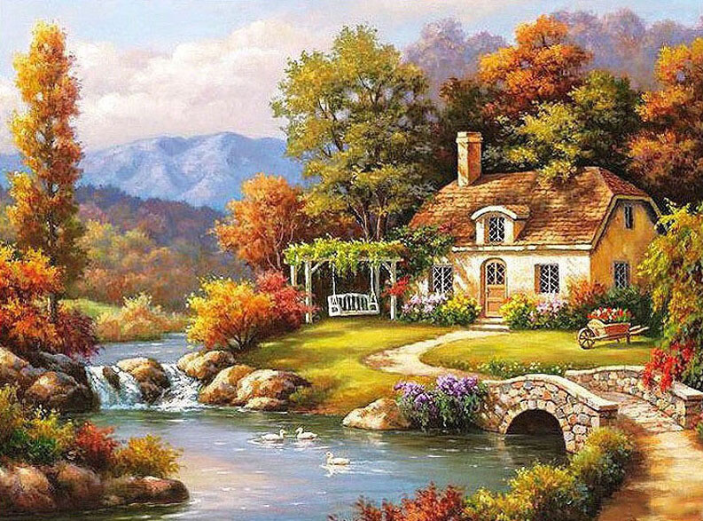 Paint By Numbers Kit Autumn House On The River 40 x 50cm