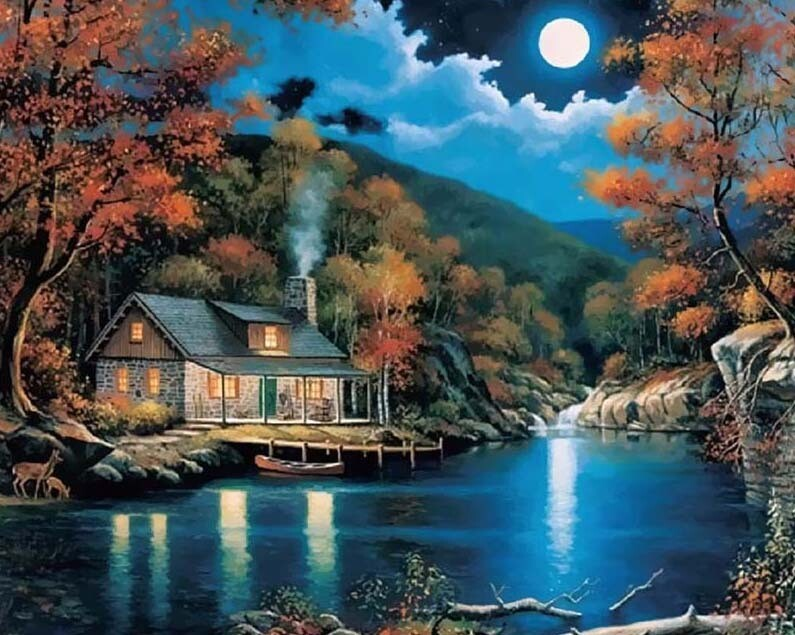 Paint by Numbers Kit Moonlit Cabin 40 x 50cm