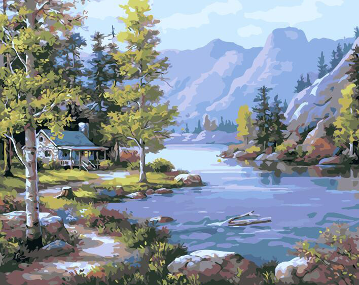 Paint by Numbers Kit Lakehouse 40 x 50cm