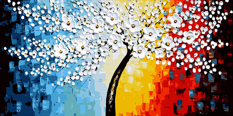 Paint by Numbers Tree in Blossom 40 x 50cm