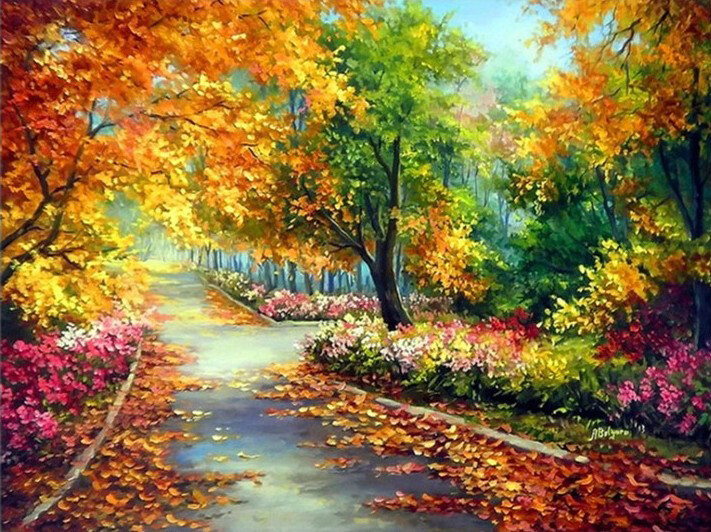 Paint By Numbers Kit Autumn Stroll 40 x 50cm