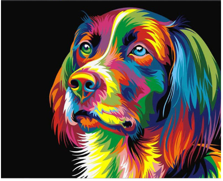 Paint by Diamond Kit Psychedelic Dog 20 x 25cm