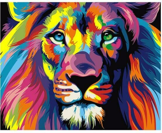 Paint by Diamond Kit Psychedelic Lion 20 x 25cm