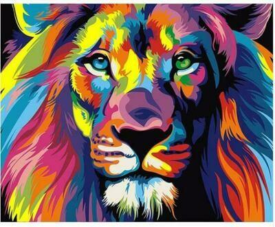 Paint by Diamond Kit Psychedelic Lion 20 x 25cm
