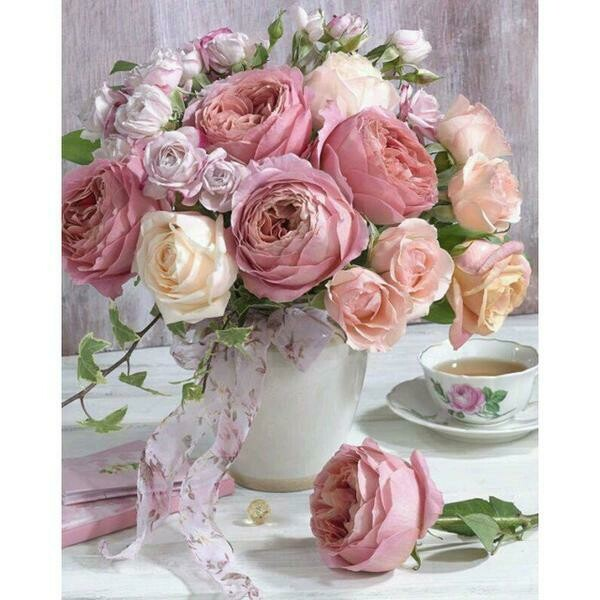 Paint by Diamond Kit Pink Roses 30 x 40cm