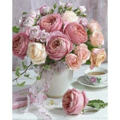 Paint by Diamond Kit Pink Roses 30 x 40cm