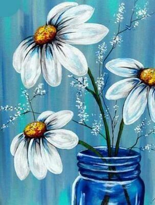 Paint by Diamond Kit Flowers in Blue Jar 30 x 40cm