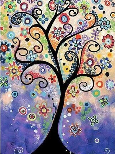 Paint by Diamond Kit Rainbow Tree 30 x 40cm