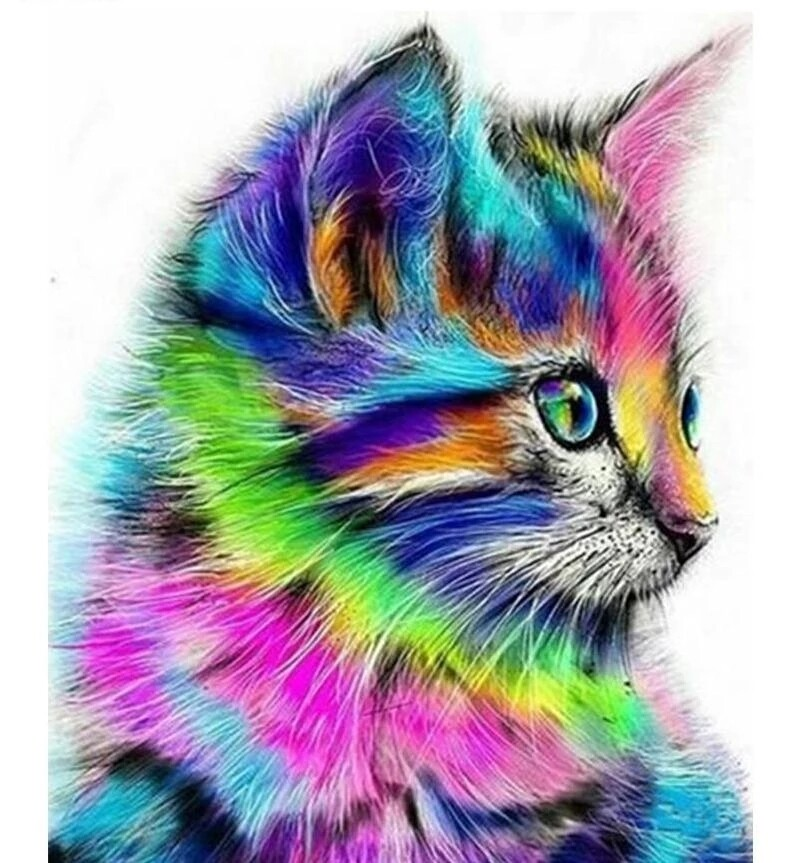 Paint by Diamond Kit Psychedelic Kitten 30 x 40cm