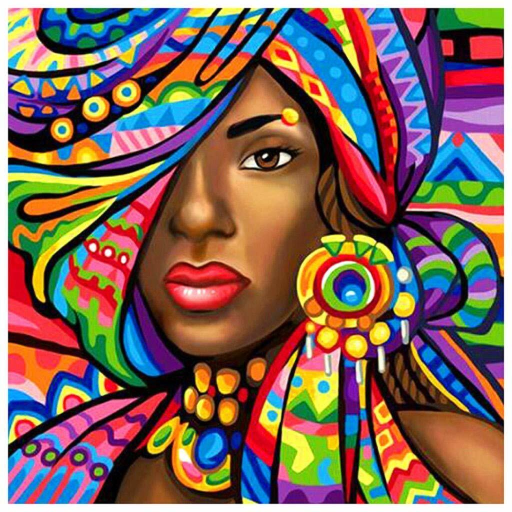 Paint by Diamond Kit African Princess 40 x 40cm