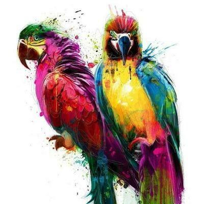 Paint by Diamond Kit Parrot Pair 30 x 40cm