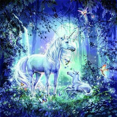 Paint by Diamond Kit Unicorns and Fairies 30 x 40cm