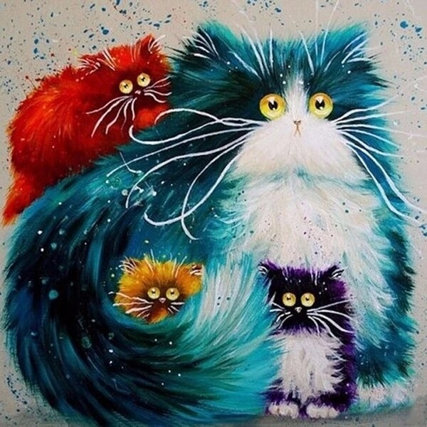 Paint by Diamond Kit Funky Cats 40 x 40cm