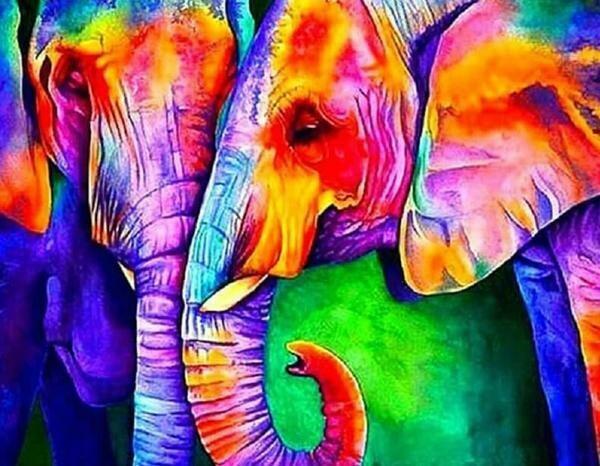 Paint by Diamond Kit Psychedelic Elephants 40 x 50cm