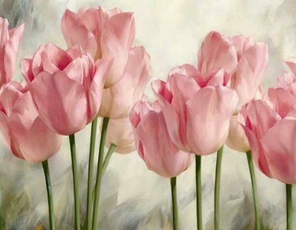 Paint by Diamond Kit Pink Tulips Large 40 x 50cm