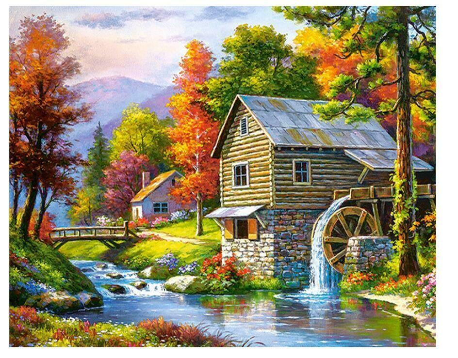 Paint by Diamond Kit Watermill 40 x 50cm