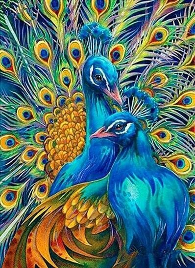 Paint by Diamond Kit Peacock Pair 40 x 50cm