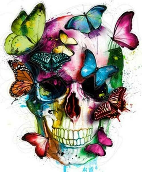 Paint by Diamond Kit Skull with Butterflies 40 x 50cm