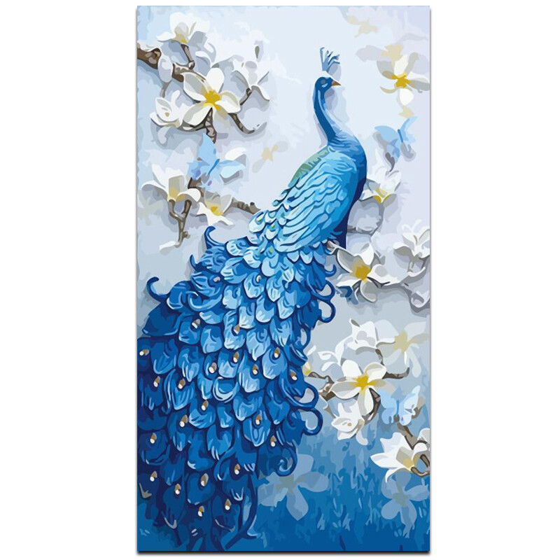 Paint by Diamond Kit Peacock with Flowers 50 x 70cm