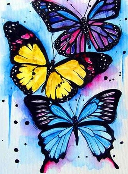 Paint by Diamond Kit Funky Butterflies 30 x 40cm