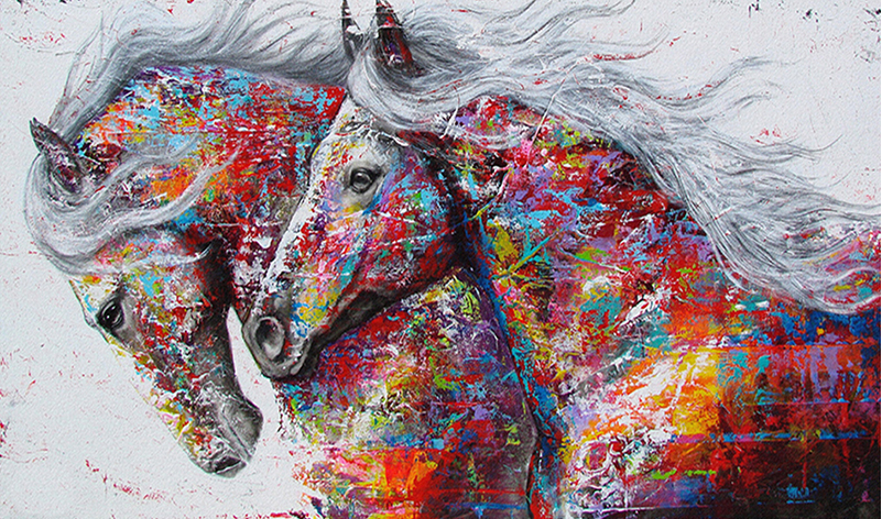 Paint by Diamond Kit Astral Horses 50 x 70cm