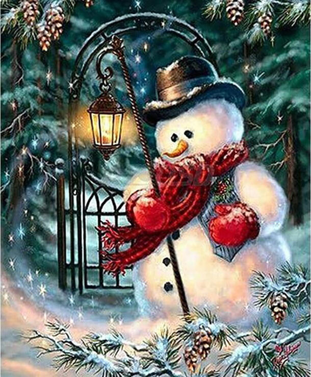 Paint by Diamond Kit Mr Snowman 30 x 40cm