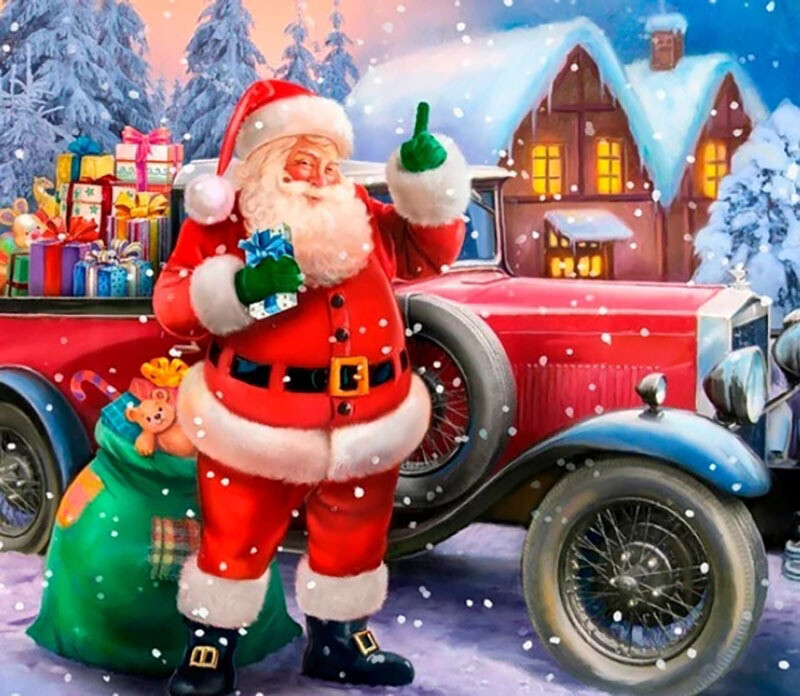 Paint by Diamond Kit Santa's Ride 30 x 40cm