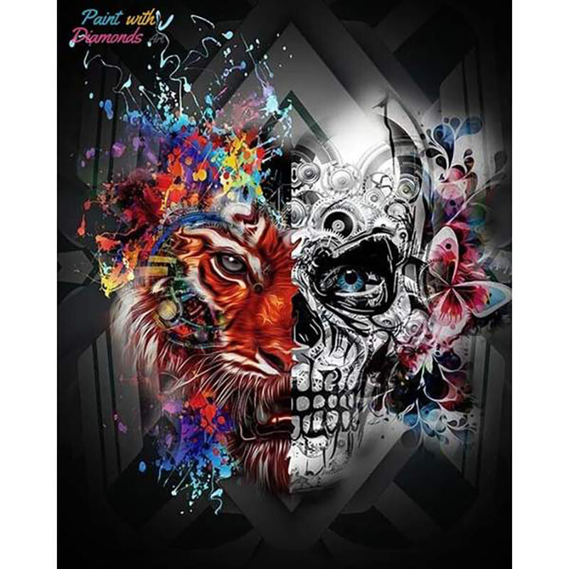 Paint by Diamond Kit Lion Skull 30 x 40cm