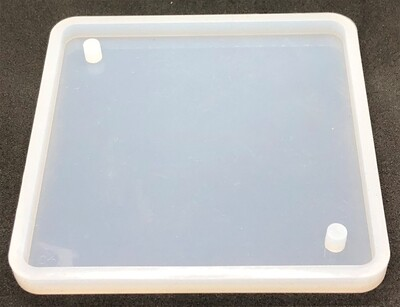 Silicone Mould - 100mm² square with 2 holes