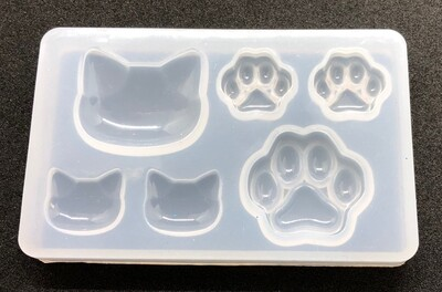 Silicone Mould - Kitty head and paws