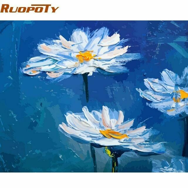Paint by Number Kit Daisy Cups 40 x 50cm