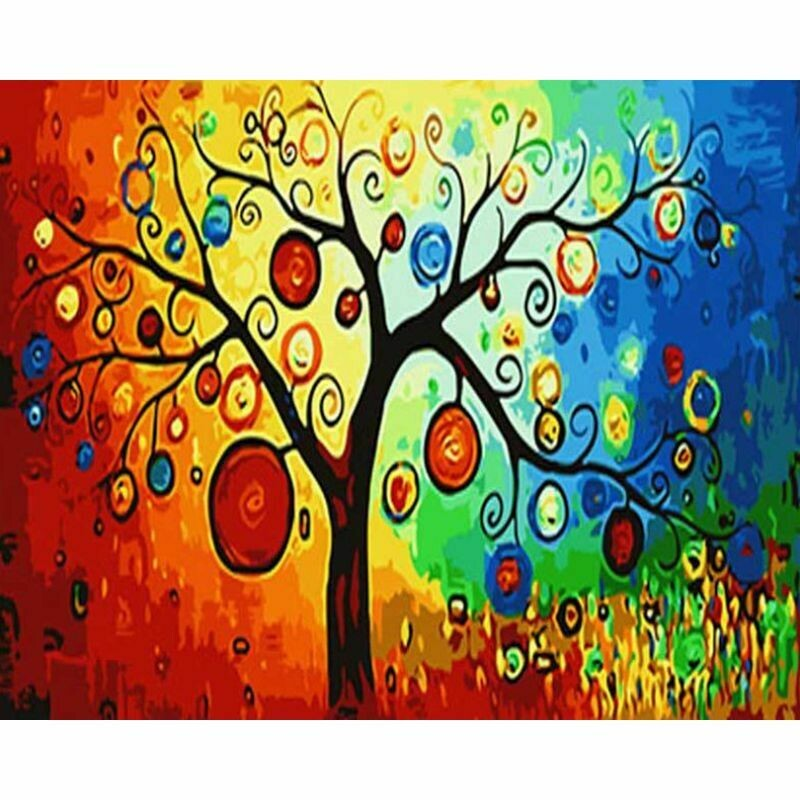 Paint by Number Kit Tree in Colour 40 x 50cm
