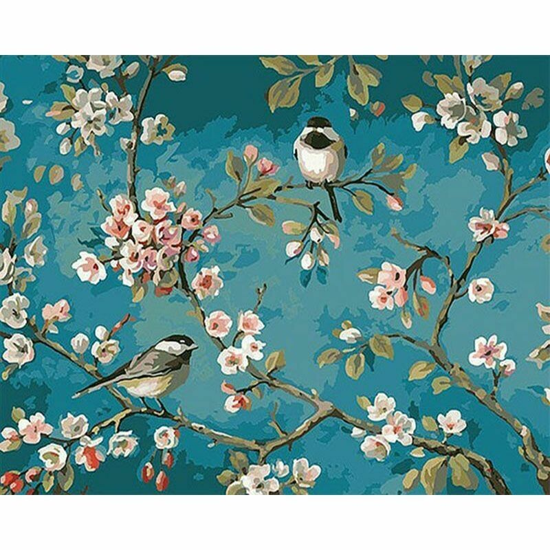 Paint by Number Kit Chicadee Pair 40 x 50cm