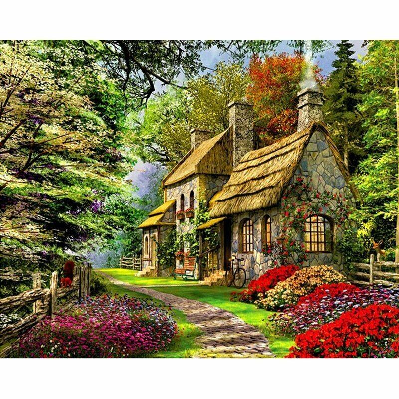 Paint by Number Kit Flowery Inn 40 x 50cm