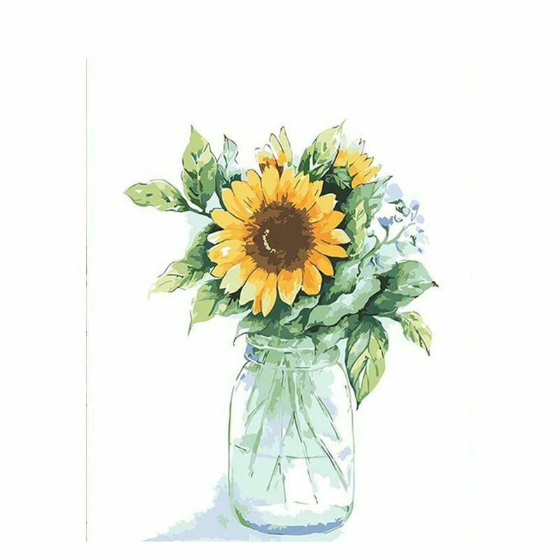 Paint by Number Kit Sunflower in Glass Jar 40 x 50cm
