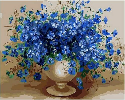 Paint by Number Kit Blue Petunias 40 x 50cm