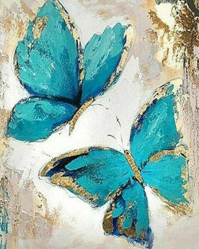Paint by Number Kit Blue Butterflies 40 x 50cm