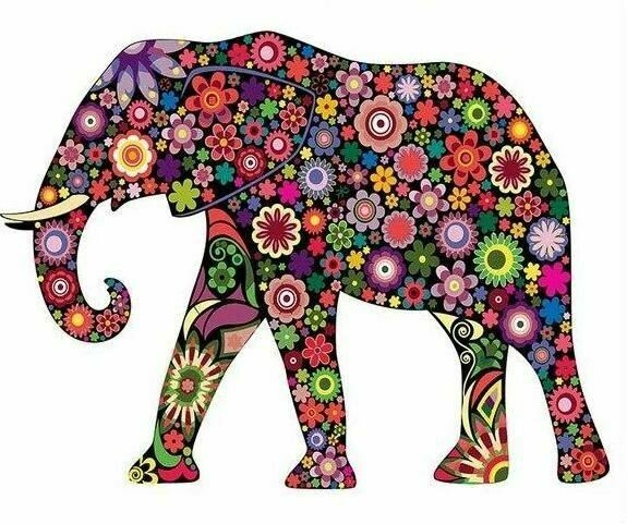 Paint by Number Kit Flowery Elephant 40 x 50cm