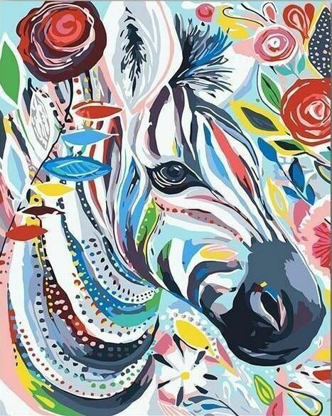 Paint by Number Kit Rainbow Zebra 40 x 50cm