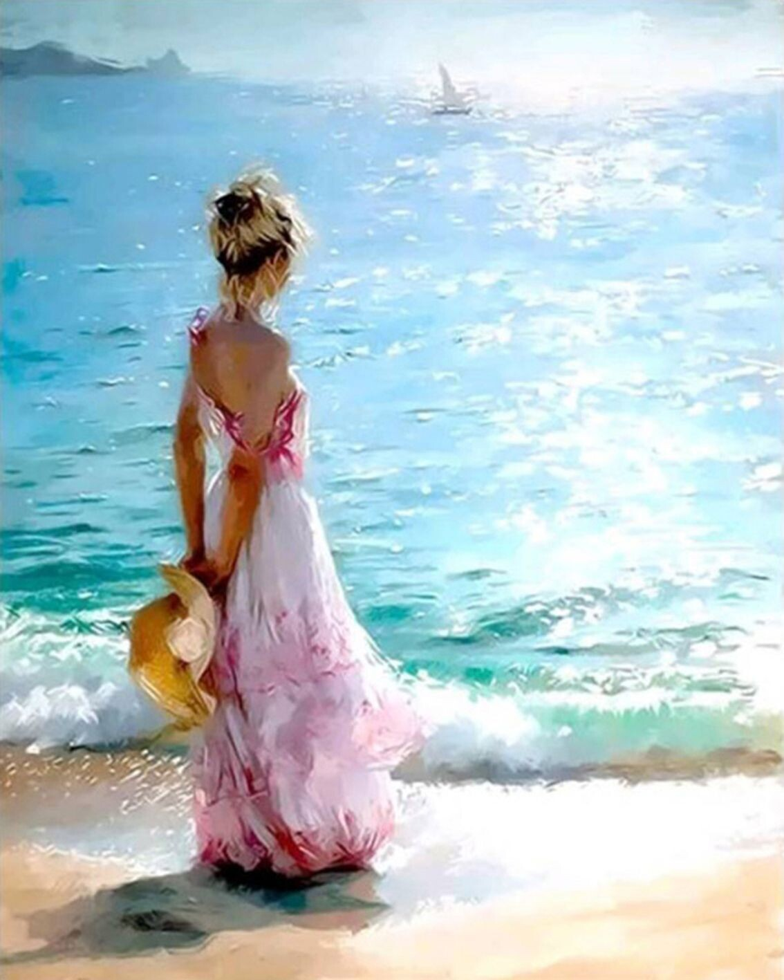 Paint by Number Kit Girl on Beach 40 x 50cm